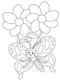 Butterfly and flowers coloring page Stock Images