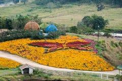 ิีbutterfly flowers garden. Many kind of flowers sets into a beautiful and  huge butterfly Royalty Free Stock Photography