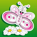 Butterfly and flowers - Kid Illustration Royalty Free Stock Photography