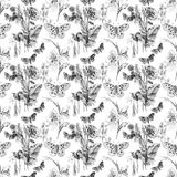 Butterfly and Flowers Pattern. Repeating black and white line drawing pattern of butterflies and flowers Royalty Free Stock Image