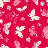 Butterfly and flowers seamless pattern Stock Photo