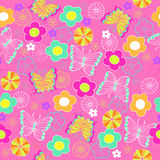 Butterfly and Flowers Seamless Repeat Pattern. Pink Butterfly and Flowers Seamless Repeating Pattern- eps Illustration Stock Photos