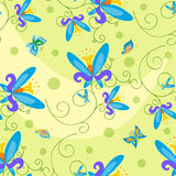 Butterfly and Flowers Seamless . Stock Photos