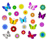 Butterfly and flowers set isolated Stock Images