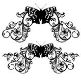 Butterfly and flowers vector decor Stock Photos