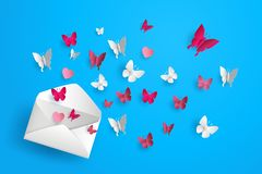 Butterfly fly out of envelope. Stock Photo