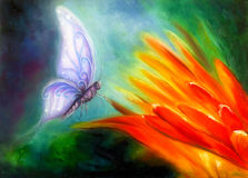 Butterfly flying towards a bright orange flower, beautiful detailed colorful oil painting on canvas. Stock Images