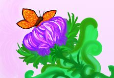 Butterfly flying towards a flower illustration Stock Photography