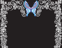 Butterfly frame. Butterfly and spiraled border or frame Stock Photos