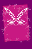 Butterfly frame. Butterfly on the pink and violet frame stock illustration