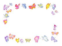 Butterfly frame. Hand drawn border of colourful butterflies. It's very nice Royalty Free Stock Images