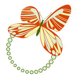 Butterfly Frame Green. Frame with orange, green and yellow butterfly design, vector illustration Royalty Free Stock Photography