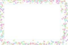 Butterfly frame pastel color light lemon azure color spring card Stock Images