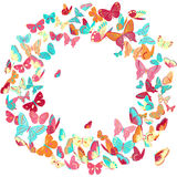 Butterfly frame, wreath design element, retro banner Stock Images