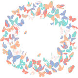 Butterfly frame, wreath design element, retro banner Royalty Free Stock Photos