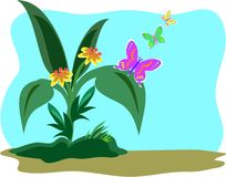 Butterfly Garden. Here is a peaceful garden with three Butterflies Royalty Free Stock Image