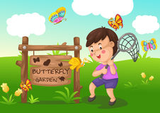 Butterfly garden. Illustration of isolated butterfly garden Royalty Free Stock Photography