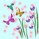 Butterfly garden art. Abstract garden art  with butterflies and grass Royalty Free Stock Photography