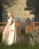 Butterfly Garden Bride - 1. Digital render of a woman in bridal dress standing in a flower garden surrounded by monarch butterflies Royalty Free Stock Photo