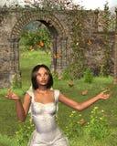 Butterfly Garden Bride - 2. Digital render of a woman in bridal dress standing in a flower garden surrounded by monarch butterflies Stock Photos