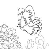 Butterfly in garden coloring page. Hand drawn butterly in a garden of flowers coloring page for kids Royalty Free Stock Photography