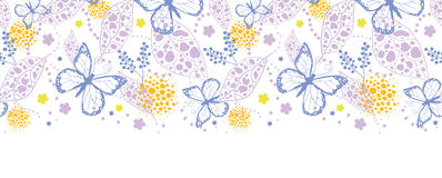 Butterfly garden horizontal seamless pattern. Vector butterfly garden horizontal seamless pattern background with hand drawn elements Royalty Free Stock Photo
