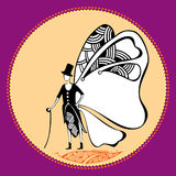 Butterfly gentleman with a cane for your design Royalty Free Stock Photography