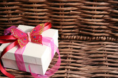 Butterfly Gift Box. To the side of a wooden fixture Stock Photos