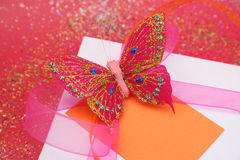 Butterfly Gift Close Stock Images