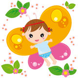 Butterfly girl. Illustration of little butterfly girl