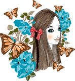 Butterfly girl Royalty Free Stock Images