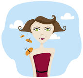 Butterfly Girl. A beautiful young woman enjoying the company of butterflies stock illustration