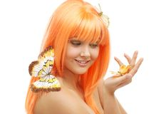 Butterfly girl Stock Image