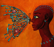 Butterfly  and girl. African woman with butterfly surrealism Royalty Free Stock Photo
