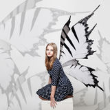 Butterfly Girl Background. Beautiful Girl and Butterfly Wings Royalty Free Stock Photo