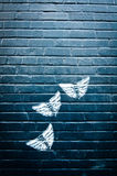 Butterfly Graffiti on Brick Wall Royalty Free Stock Image
