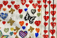 BUTTERFLY GRAFFITI ON WALL Stock Photos
