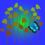 Butterfly in grass. Beautiful butterfly flying in grass on blue background Royalty Free Illustration