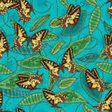Butterfly green batik natural seamless pattern Royalty Free Stock Image