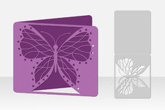 Butterfly greeting card laser cutting. Silhouette design. Royalty Free Stock Photo
