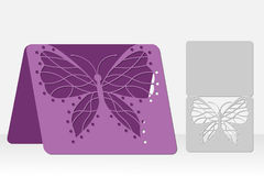 Butterfly greeting card laser cutting. Silhouette design. Royalty Free Stock Photography