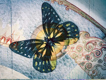 Butterfly. Grunge butterfly with thai background Stock Images