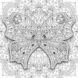 Butterfly. Hand drawn ethnic Printable vector in doodle style. Coloring book page for adults and older children  Royalty Free Stock Images