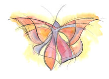 Butterfly. Hand drawn watercolour illustration of butterfly Royalty Free Stock Photography
