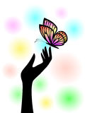 Butterfly on hand. Illustration arm stock illustration