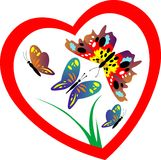 Butterfly in heart Royalty Free Stock Photography