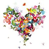 Butterfly heart. Valentine  illustration. Element for design Royalty Free Stock Image