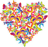 Butterfly Heart. A beautiful illustration of a heart design made of colorful butterflies of different shapes, isolated on a white background Royalty Free Stock Photo