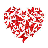 Butterfly heart. Romantic postcard with butterfly heart Stock Photography