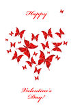 Butterfly heart. Romantic postcard with butterfly heart Royalty Free Stock Image